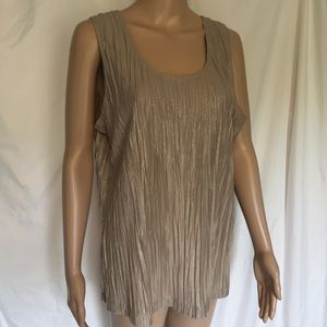 Chico's Tops - Chicos 3 Sleeveless Beige Accordian Crinkle Fabric